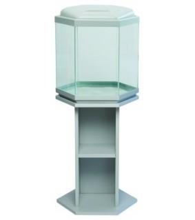 Akwaland 6-kulmainen akvaario jalustalla ja valaisinkannella harmaa