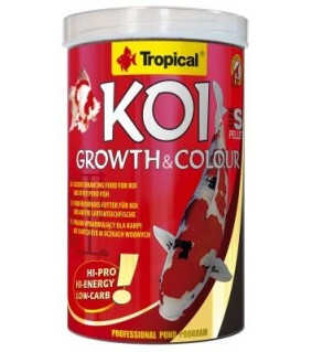 TROPICAL KOI GROWTH& COLOUR PELLET SIZES 1000ML/320G